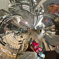 Kyoto Train Station Level Two -- Little Planet View (90 degree right). Composite of 43 images taken with a Leica CL camera and 18 mm f/2.8 lens (ISO 400, 18 mm, f/5.6, 1/60 sec). Raw images processed with Capture One Pro and AutoPano Giga Pro.