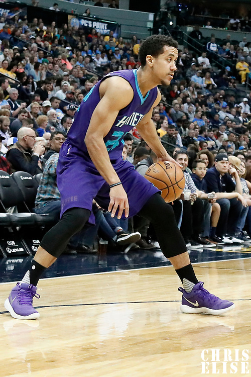 04 March 2017: Charlotte Hornets guard Brian Roberts (22) dribbles during the Charlotte Hornets 112-102 victory over the Denver Nuggets, at the Pepsi Center, Denver, Colorado, USA.