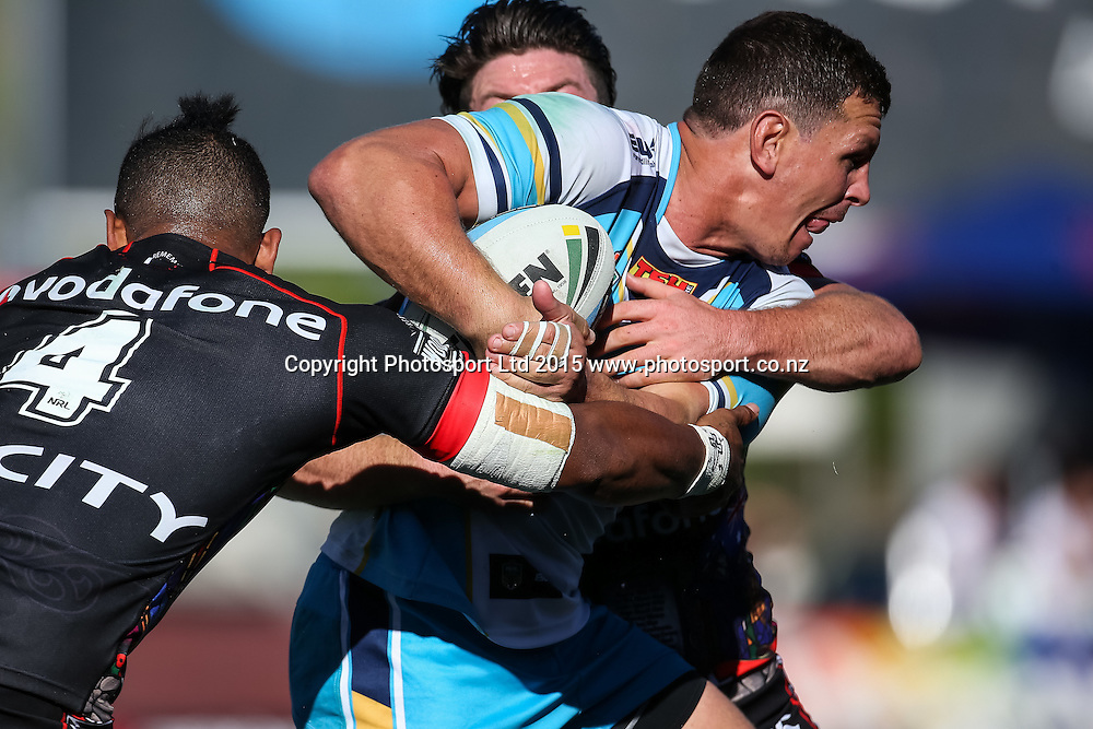 Gold Coast Titans Greg Bird in action during the NRL Rugby League match - Warriors v Titans, played on Saturday 25 April 2015 at Mount Smart Stadium, Auckland, New Zealand.  Copyright Photo:  Bruce Lim / www.photosport.co.nz