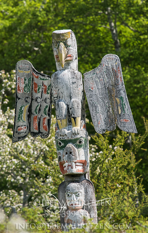 Totem pole at the Namgis Burial ground in Alert Bay, British Columbia, Canada.