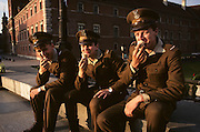 In late afternoon, three conscript soldiers  of the Polish army are dressed in brown uniforms eating ice cream cones in Plac Zamkowy, outside the Royal Castle in Warsaw, Poland. The Polish army (Wojsko Polskie) is the name applied to the military forces of Poland. The name has been used since the early 19th century, although it can be used to refer to earlier formations as well. Polish Armed Forces consist of the Army (Wojsko L?dowe), Navy (Marynarka Wojenna) and Air Force (Si?y Powietrzne) branches and are under the command of the Ministry of Defense (Ministerstwo Obrony Narodowej). The combined Polish armed forces consist of 215,000 active duty personnel and in addition 450,000 reserves. The armed forces are made up of conscripts who serve for a period of 9 months, and professional soldiers.