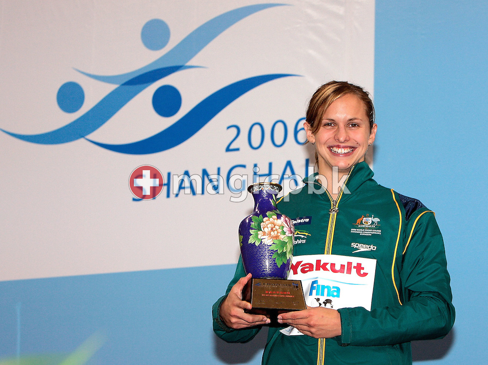 Lisbeth LENTON of Australia poses with the Fina Trophy for the best female athlete during day five of the 8th FINA World Swimming Championships (25m) held at Qi Zhong Stadium April 9, 2006 in Shanghai, China. (Photo by Patrick B. Kraemer / MAGICPBK)