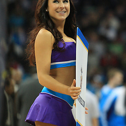 04 February 2009: A New Orleans Honeybee cheerleader holds a sign during a 93-107 loss by the New Orleans Hornets to the Chicago Bulls at the New Orleans Arena in New Orleans, LA.