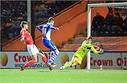 Joe Bunney Scores for Rochdale during the Sky Bet League 1 match between Rochdale and Crewe Alexandra at Spotland, Rochdale, England on 16 February 2016. Photo by Daniel Youngs.