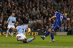 MANCHESTER, ENGLAND - Monday, February 25, 2008: Everton's Tim Cahill sees his shot handled by Manchester City's Micah Richards but no penalty was given during the Premiership match at the City of Manchester Stadium. (Photo by David Rawcliffe/Propaganda)