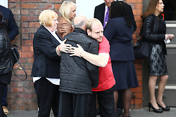 © Licensed to London News Pictures. 28/06/2017. Warrington, UK. Families arrive at Parr Hall. Families of the 96 people killed at the Hillsborough disaster in 1989 will today find out if criminal charges will be brought after Prosecutors examining files identified 23 criminal suspects. Families will be informed of the decisions by Sue Hemming, CPS Head of Special Crime & Counter-Terrorism at Parr Hall in Warrington. Photo credit: Andrew McCaren/LNP