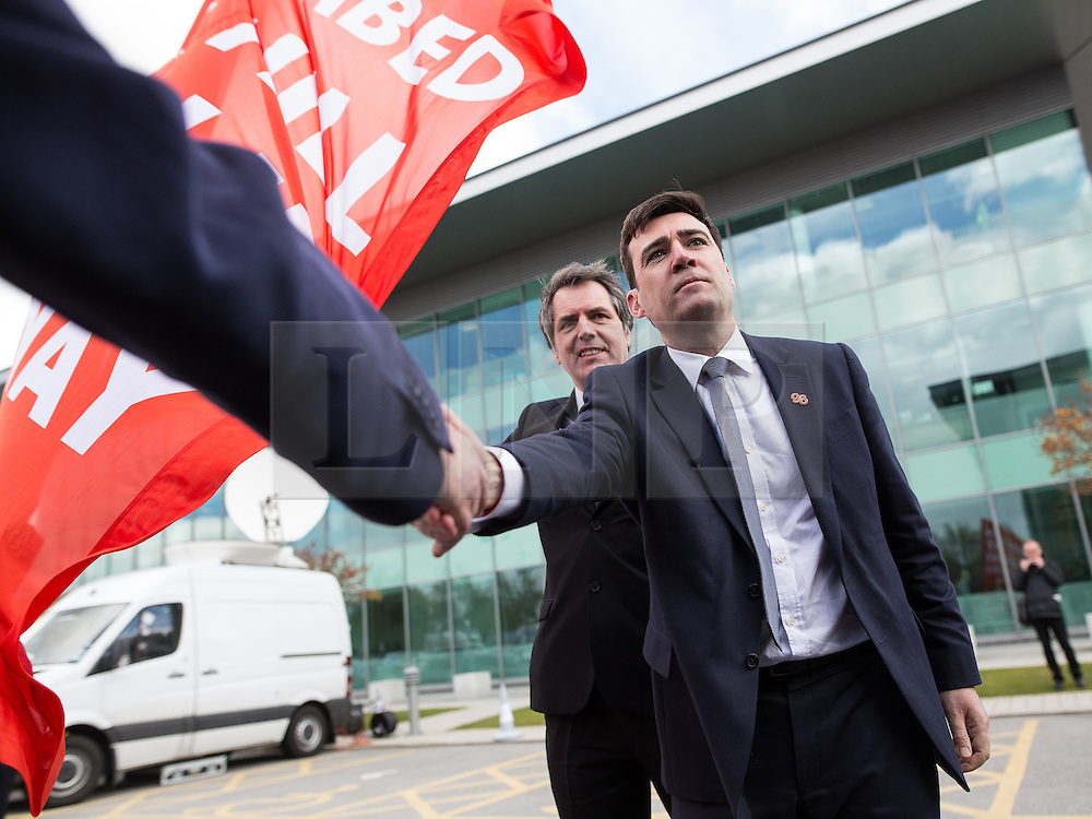 © Licensed to London News Pictures. 26/04/2016. Warrington, UK. STEVE ROTHERAM MP and ANDY BURNHAM MP greeted by families of victims outside the court after the jury delivers their verdicts at the Hillsborough Inquest, at the coroner's court at Birchwood Park.  Photo credit: Joel Goodman/LNP