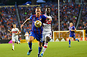 Maikel van der Werff (23) of FC Cincinnati and C.J. Sapong (9) of the Chicago Fire chase down the ball during a MLS soccer game, Saturday, September 21, 2019, in Cincinnati, OH. Chicago tied Cincinnati 0-0. (Jason Whitman/Image of Sport)