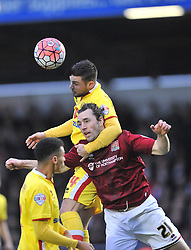 MK Dons Jake Forster Caskey holds of Northamptons John Joe O'Toole,  Cobblers, Northampton Town v MK Dons, FA Cup 3rd Round,  Sixfields Stadium, Saturday 9th January 2016