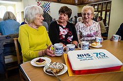 Pictured: Margaret Sallie (81) chatted with Fiona McQueen and Janey Tulley (78) who joined the NHS in 1960 following the footsteps of her grandmother, mother and six sisters.<br /> <br /> Scotland's Chief Nursing Officer (CNO) Fiona McQueen met members of the NHS Retirement Fellowship as the 70th anniversary of the NHS approaches.<br /> <br /> Ger Harley | EEm 21 June 2018
