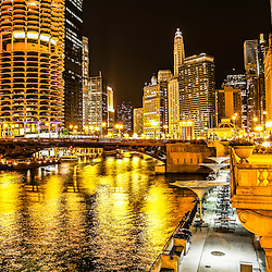 Chicago River architecture at night picture. Photo includes the Chicago River, North Dearborn Street Bridge, Marina City Towers, London Guarantee Building, and Hotel 71.