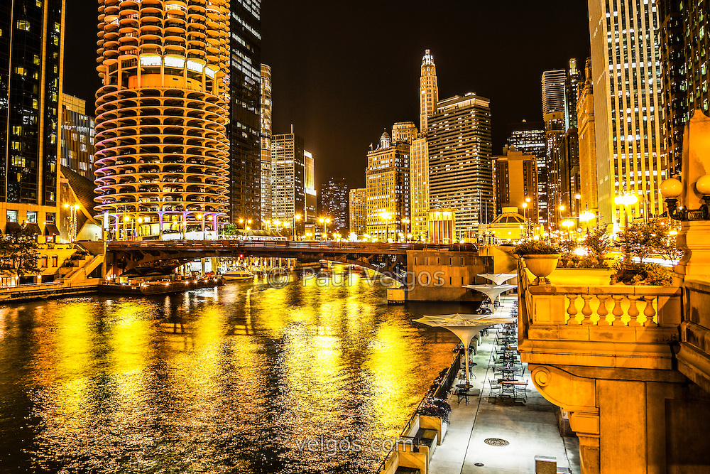 Chicago River Architecture at Night Picture | Buy Canvas Prints ...