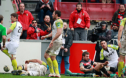 Vincent Clerc scores a try for Stade Toulousain. Stade Toulousain v Ospreys, Heineken Cup, Stade Ernest Wallon, Toulouse, France, 8th December 2012.