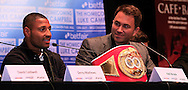 Picture by Richard Gould/Focus Images Ltd +44 7855 403186<br /> 22/06/2013<br /> Kell Brooke (left) speaks about his fight pictured during a press conference at Hull City Hall.