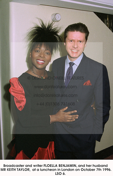 Broadcaster and writer FLOELLA BENJAMIN, and her husband MR KEITH TAYLOR,  at a luncheon in London on October 7th 1996.          LSO 6.