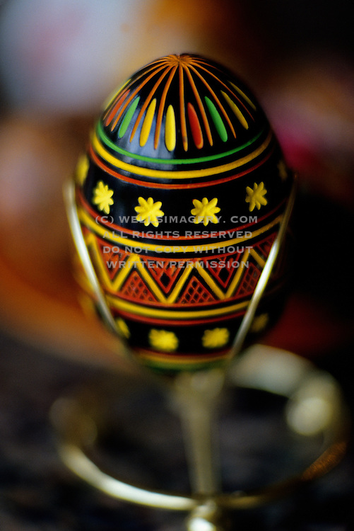 Image of a Ukrainian pysanka, easter egg, in Lviv, Ukraine, property released
