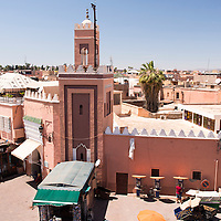 Jemaa el-Fnaa is a large marketplace square in the Medina of Marrakesh, Morocco.