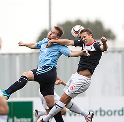 Dundee's Steven Doris and Falkirk's Will Vaulks.<br /> half time : Falkirk 1 v 0 Dundee, 21/9/2013.<br /> &copy;Michael Schofield.