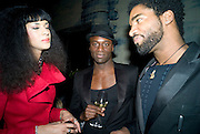 Joy Vieli. ( LEFT)  Prada Congo Art Party hosted by Miuccia Pada and Larry Gagosian. The Double Club,  Torrens St. London EC1. The Double Club is A Carsten Holler project by Fondazione Prada. 10 February 2009. *** Local Caption *** -DO NOT ARCHIVE-© Copyright Photograph by Dafydd Jones. 248 Clapham Rd. London SW9 0PZ. Tel 0207 820 0771. www.dafjones.com.<br /> Joy Vieli. ( LEFT)  Prada Congo Art Party hosted by Miuccia Pada and Larry Gagosian. The Double Club,  Torrens St. London EC1. The Double Club is A Carsten Holler project by Fondazione Prada. 10 February 2009.
