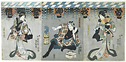 Scene from a Kabuki theatre performance. In this highly stylised Japanese dance-drama,  from 1629 all roles had to be played by men. Those who specialised in female roles were known as onnagata. Utagawa Kunisada (1786-1864) Japanese artist and printmaker. Coloured woodblock print.