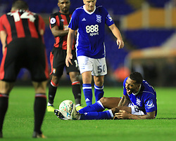 David Davis of Birmingham City reacts to a knee injury after he is fouled by Adam Smith of Bournemouth - Mandatory by-line: Paul Roberts/JMP - 22/08/2017 - FOOTBALL - St Andrew's Stadium - Birmingham, England - Birmingham City v Bournemouth - Carabao Cup