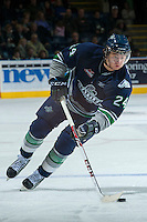 KELOWNA, CANADA -FEBRUARY 10: Alexander Delnov #24 of the Seattle Thunderbirds skates with the puck against the Kelowna Rockets on February 10, 2014 at Prospera Place in Kelowna, British Columbia, Canada.   (Photo by Marissa Baecker/Getty Images)  *** Local Caption *** Alexander Delnov;