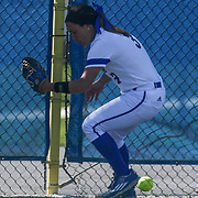 Delaware Outfielder Shelby Jones (3) hits the wall while attempting to field the ball Saturday, April 16, 2016, at Delaware softball stadium in Newark, Delaware.