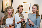 A made in Chelsea character (L) attends with friends (including one who will be in the next series - C). The Private view for Drawing on Style: Four Decades of Elegance - an exhibition of original vintage fashion illustrations from Post War 1940s through to the 1970s organized by GRAY M.C.A, leading specialists in Fashion Illustration.  It includes more than 40 original works by some of the leading illustrators of the time from Britain, Europe and America including René Bouché, René Gruau and Carl Erickson for publications including Vogue as well as advertising work for L'Oreal and other famous names in Haute Couture.  There are also a selection of original designs by designers including Dior, Biba & Zandra Rhodes. Coinciding with London Fashion Week, the exhibition runs from Thursday 11th - Tuesday 16th September 2014 with prices from £300-£10,000. Gallery 8, St James's, London. 10 Sept 2014. Guy Bell, 07771 786236, guy@gbphotos.com