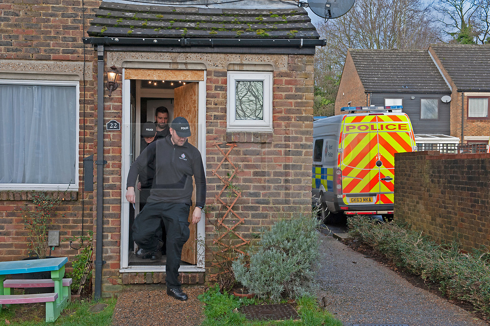 © Licensed to London News Pictures. 21/12/2018. New Ash Green, UK. Police activity at the home of missing mum Sarah Wellgreen in New Ash Green. Sarah's ex-boyfriend 38 year old Ben Lacomba has been charged with her murder and is in court today.Photo credit: Grant Falvey/LNP