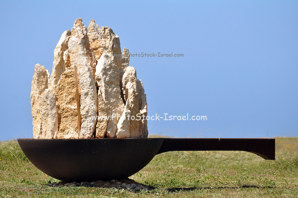 "Israel, Coastal Plains, Arsuf, Dina Park, concrete and iron Urban Sculpture, ""Saucepan"" from 2004. By Tanya Priminger."
