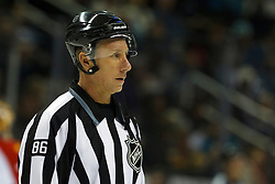 Dec 3, 2011; San Jose, CA, USA; NHL linesman Brad Lazarowich (86) before a face off between the San Jose Sharks and the Florida Panthers during the second period at HP Pavilion. Florida defeated San Jose 5-3. Mandatory Credit: Jason O. Watson-US PRESSWIRE