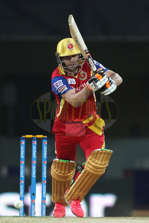 AB De Villiers of the Royal Challengers Bangalore sets off for a run during match 37 of the Pepsi IPL 2015 (Indian Premier League) between The Chennai Superkings and The Royal Challengers Bangalore held at the M. A. Chidambaram Stadium, Chennai Stadium in Chennai, India on the 4th May April 2015.<br /> <br /> Photo by:  Shaun Roy / SPORTZPICS / IPL