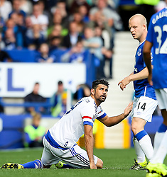 Diego Costa of Chelsea reacts after kicking out at Everton's Steven Naismith - Mandatory byline: Matt McNulty/JMP - 07966386802 - 12/09/2015 - FOOTBALL - Goodison Park -Everton,England - Everton v Chelsea - Barclays Premier League