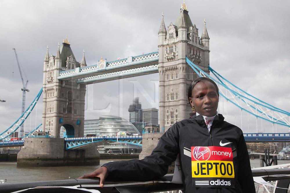 © Licensed to London News Pictures. 18/04/2013. London, England. Pictured: Kenyan Runner Priscah Jeptoo. Virgin London Marathon - Photocall with International Women Runners Athletes Tiki Gelana (ETH), Edna Kiplagat (KEN), Priscah Jeptoo (KEN) and Yoko Shibui (JPN) at Tower Bridge ahead of Sunday's run, London. Photo credit: Bettina Strenske/LNP