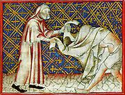 Scene from the 14th Century, illustrated manuscript the Breviari d'amor. It illustrates the seven Acts of Mercy. Here  is shown  clothing the naked
