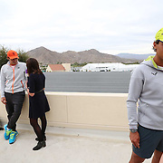 Roger Federer and Rafael Nadal take part in the ATP All-Access Hour at the Indian Wells Tennis Garden in Indian Wells, California Tuesday, March 11, 2015.<br /> (Photo by Billie Weiss/BNP Paribas Open)
