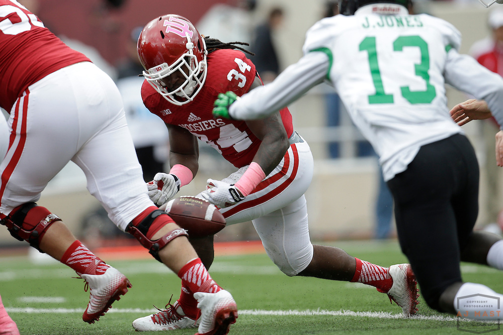 04 October 2014: Indiana Hoosiers running back Devine Redding (34)  as the Indiana Hoosiers played North Texas in a NCAA college football game in Bloomington, IN.