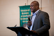 Dexter Jackson speaks during the Legacy/Candlelight service on Friday, April 27, 2018, in the Lehman Center at Concordia College Alabama in Selma, Ala. LCMS Communications/Erik M. Lunsford