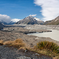 On the top of Tasman Glacier Viewpoint, with view on the glacier lake.