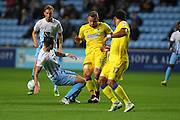 AFC Wimbledon midfielder Dean Parrett (18) on the attack during the EFL Sky Bet League 1 match between Coventry City and AFC Wimbledon at the Ricoh Arena, Coventry, England on 28 September 2016. Photo by Stuart Butcher.