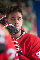 KELOWNA, CANADA - MAY 1: Keoni Texeira #44 of Portland Winterhawks stands on the bench during the national anthem against the Kelowna Rockets on May 1, 2015 at Prospera Place in Kelowna, British Columbia, Canada.  (Photo by Marissa Baecker/Getty Images)  *** Local Caption *** Keoni Texeira;