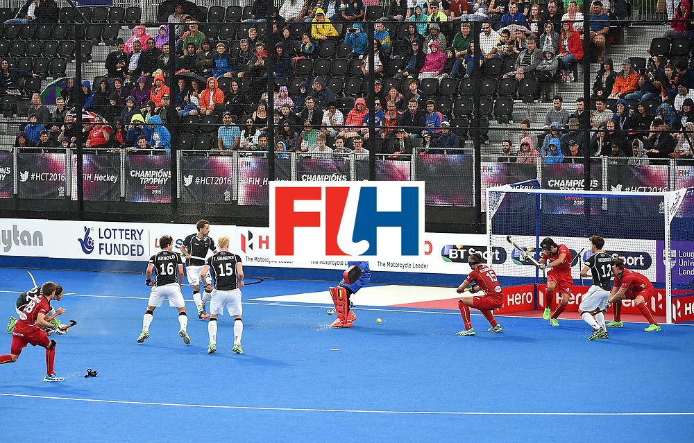 LONDON, ENGLAND - JUNE 11: Marco Miltkau scores for Germany during day two of the FIH Men's Hero Hockey Champions Trophy 2016 match between Germany and Belgium at Queen Elizabeth Olympic Park on June 11, 2016 in London, England. (Photo by Tom Dulat/Getty Images)