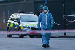 © Licensed to London News Pictures. 17/04/2019. London, UK.  The crime scene in Matthias Road in Stoke Newington where a man, thought to be in his 30's was discovered suffering from a stab injury at 17:47hrs and despite efforts from police and ambulance personnel to administer CPR died at the scene..  Photo credit: Vickie Flores/LNP
