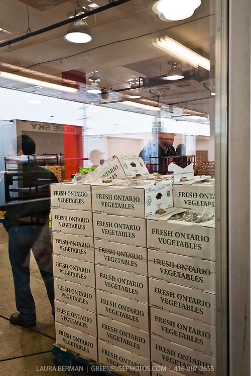 Boxes of Ontario grown produce.