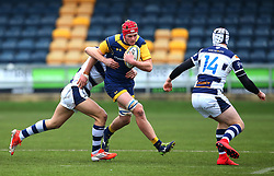Tom Fawcett (Warwick School) of Worcester Warriors Under 18s is tackled - Mandatory by-line: Robbie Stephenson/JMP - 14/01/2018 - RUGBY - Sixways Stadium - Worcester, England - Worcester Warriors Under 18s v Yorkshire Carnegie Under 18s - Premiership Rugby U18 Academy