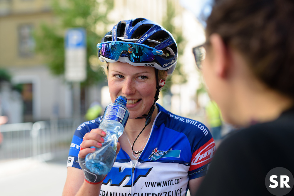 Lotta Lepistö catches up with her soignuer after Thüringen Rundfarht 2016 - Stage 5 a 99km road race starting and finishing in Greiz, Germany on 19th July 2016.