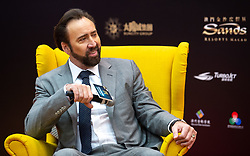 December 8, 2018 - Macao, Macao SAR, China - HONG KONG,HONG KONG SAR,CHINA.DECEMBER 8th 2018..Nicolas Cage meets the press at the International Film Festival and Awards Macao 2018. Mr Cage has hsi film Mandy being shown at the festival and is here as the Western talent ambassador for the festival along with Chinese talent ambassador Aaron Kwok. (Credit Image: © Jayne Russell/ZUMA Wire)