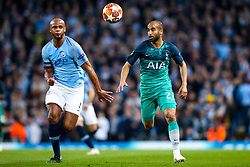 Lucas of Tottenham Hotspur takes on Vincent Kompany of Manchester City - Mandatory by-line: Robbie Stephenson/JMP - 17/04/2019 - FOOTBALL - Etihad Stadium - Manchester, England - Manchester City v Tottenham Hotspur - UEFA Champions League Quarter Final 2nd Leg