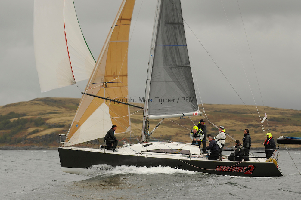 The Clyde Cruising Club's Scottish Series held on Loch Fyne by Tarbert. <br /> Day 4 Racing with a wet Southerly to start clearing up for the last race.<br /> <br /> GBR4334L ,Absolutely 2 ,Kelly/Bramall ,Port Edgar YC ,Mumm 36.