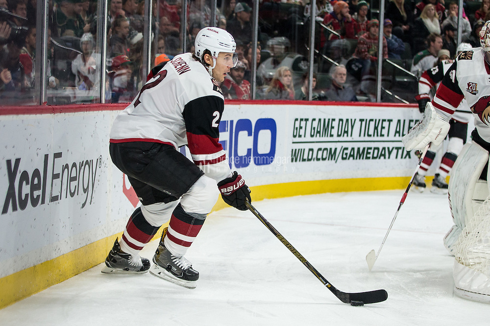 Dec 17, 2016; Saint Paul, MN, USA; Arizona Coyotes defenseman Luke Schenn (2) against the Minnesota Wild at Xcel Energy Center. The Wild defeated the Coyotes 4-1. Mandatory Credit: Brace Hemmelgarn-USA TODAY Sports
